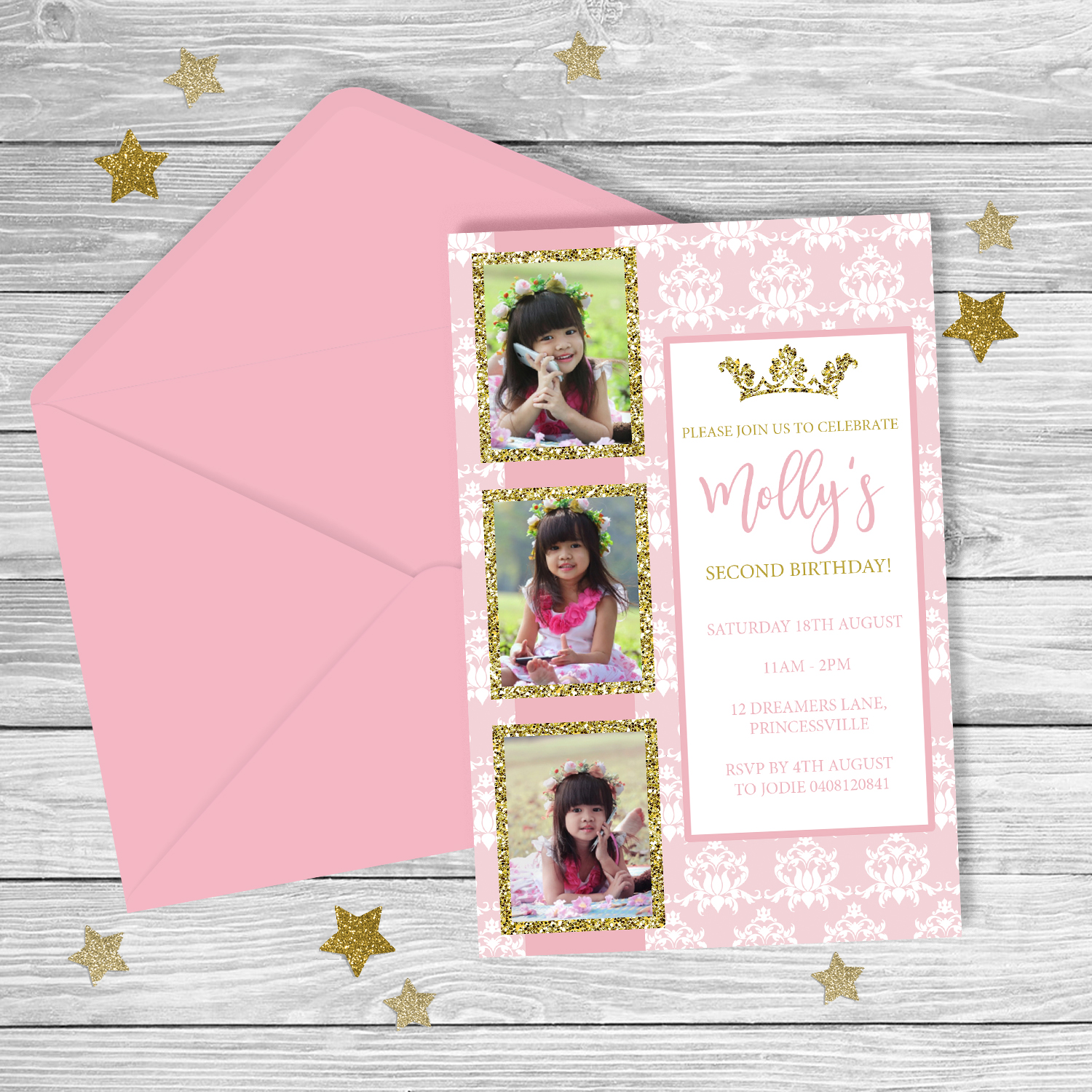 PRINCESS 1st 2nd Birthday Invitation GIRL Party Printable