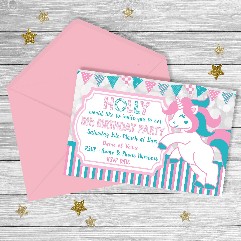 Unicorn Party FIFTH Birthday Invitation PARTY PRINTABLE