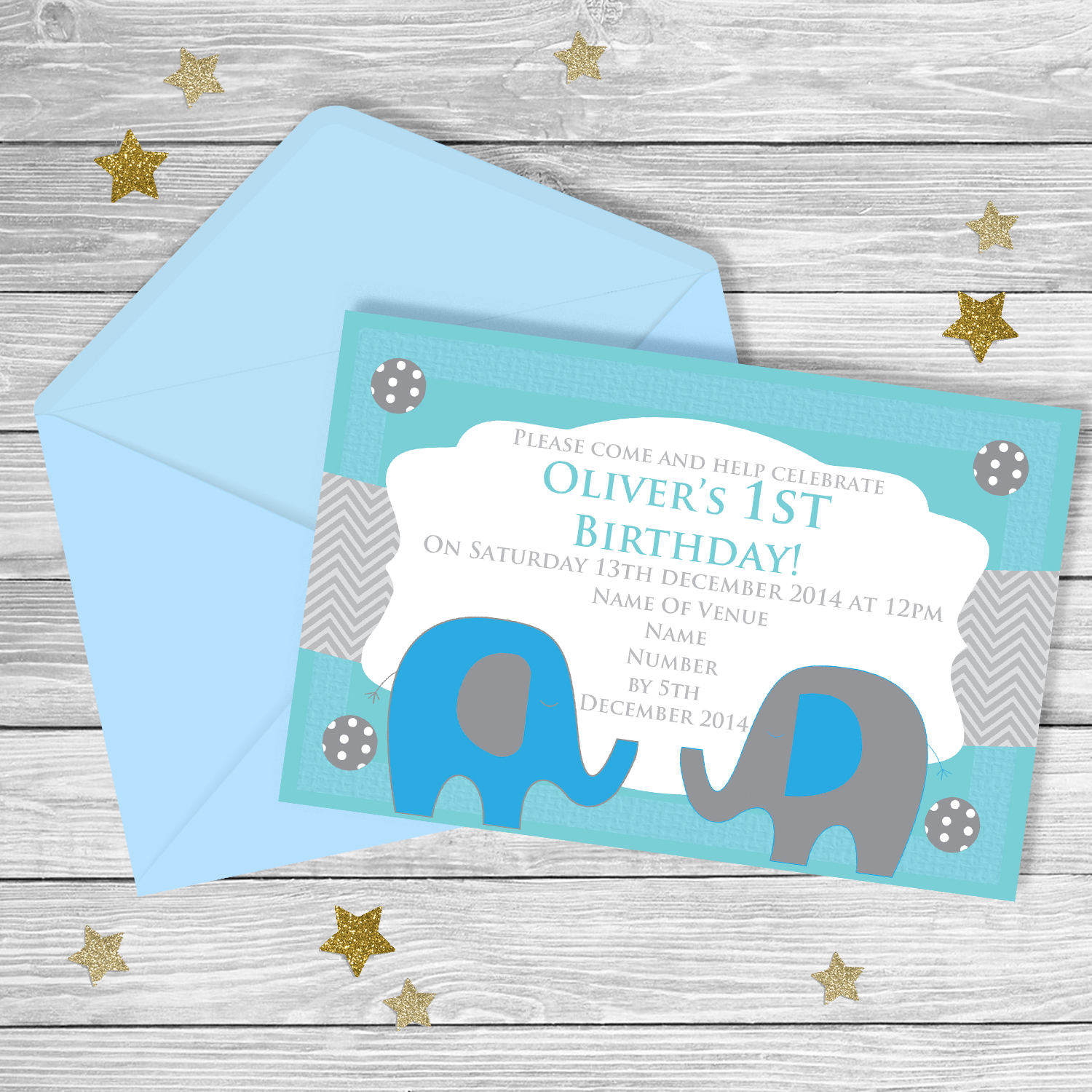 Elephant FIRST Birthday Invitation ...