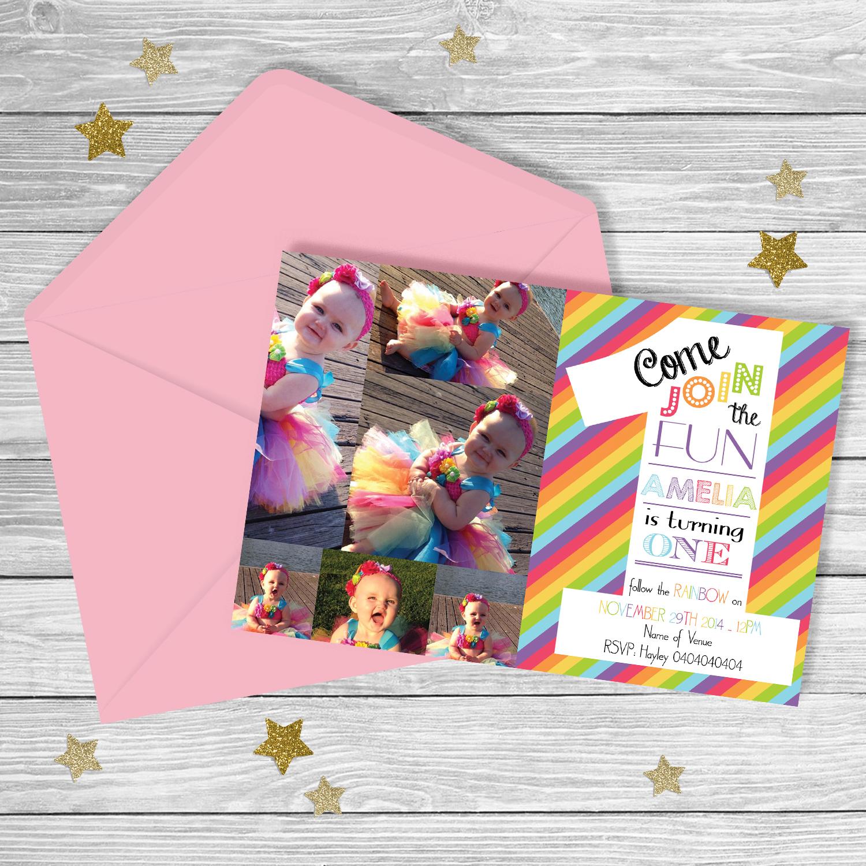Rainbow FIRST Birthday Invitation PARTY PRINTABLE
